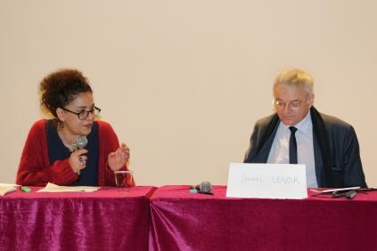 Madame Sérénade Chafik, Co-fondatrice de l'association Les Dorine et Monsieur Daniel Lenoir, Directeur Général de la Caisse nationale Des allocations familiales (CNAF)